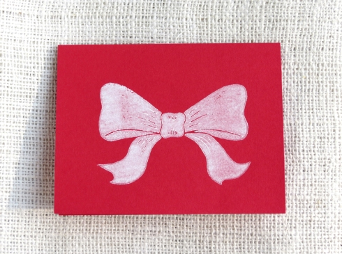 Bow Block Print Card by Hennel Paper Co.
